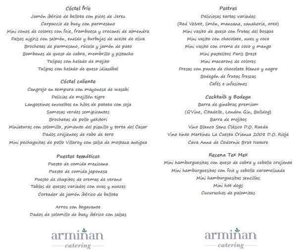 Boda-de-estilo-rústico-Minuta-Armiñan-Catering. Catering Madrid