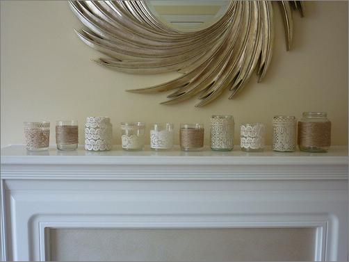 Velas con encaje para decorar