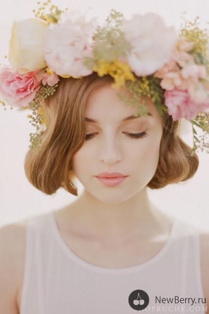 Corona de flores y tocados naturales